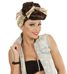 Rockabilly Girl Wig with Head Scarf - Brown